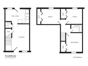 SouthGate- Three bedroom floor plan